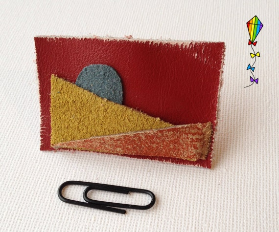Small Hair Clip made from Reclaimed Leather - Sunset Design