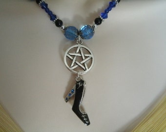 Witch's Shoe Pentacle Necklace, wiccan jewelry pagan jewelry wicca jewelry witch witchcraft magic pentagram metaphysical wiccan necklace