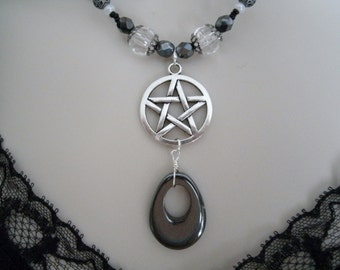 Hematite Pentacle Necklace, wiccan jewelry pagan jewelry wicca jewelry goddess witchcraft metaphysical witch magic pentagram wiccan necklace