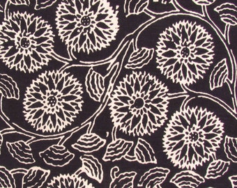 hand printed cotton fabric - black and white floral print fabric - 1 yard - ctjp118