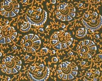 Indian Block Print Fabric - Blue and Orange Floral Print on Dark Olive - 0.75 Yard - ctsm078