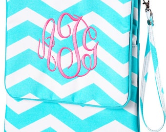 Personalized Monogrammed Turquoise Aqua Chevron Tablet Case or Purse