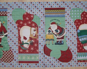 An Adorable Debbie Mumm Santa and Snowman Christmas Stockings Fabric Panel Free US Shipping