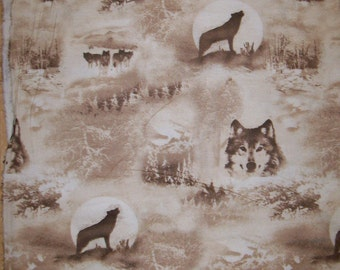 A Gorgeous Wolves In The Wild Howling In The Moonlight Flannel Fabric By The Yard Free US shipping