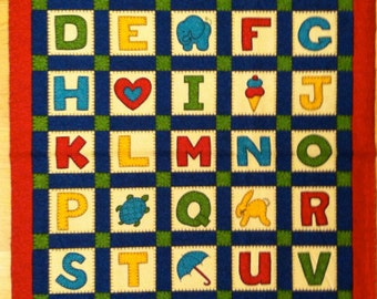 An Adorable Schoolhouse Fancies Alphabet And Numbers Fabric Panel Free US Shipping