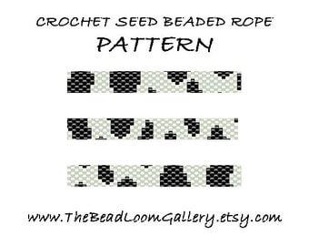 Beaded Rope Pattern - PDF File - Crochet Seed Beaded Rope - Vol.23 - Cow Skin