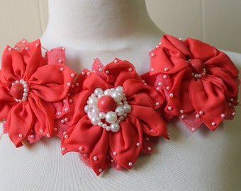 Red color beaded  flower    applique   1 pieces listing