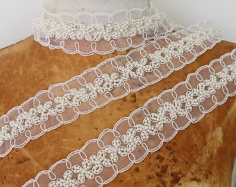 Cute  embroidered and beaded   trim 18 inch  listing