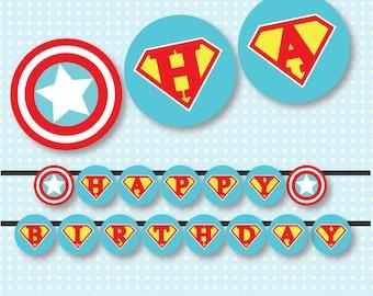 Superhero Comic Book Happy Birthday Banner Printables - INSTANT DOWNLOAD