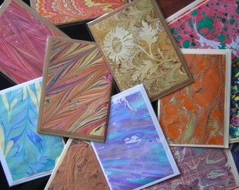 4 Large Hand-Marbled Blank Note Card Assortment of Four Random Assorted 5 x 7 Card Set