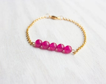 TURQUOISE lucky gold plated bracelet stone blue chain gift pink purple boho for her friendship bridesmaids wedding quartz green azurite neon