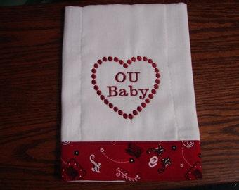 OU Baby Burp Cloth, Burp Cloth, Baby Shower Gift, New Baby Gift, University of Oklahoma Burp Cloth