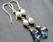 Blue quartz and white freshwater pearl earrings, 14k gold filled, gemstone, dangle, drop, long, Mimi Michele Jewelry