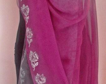 Hand dyed Silk Chiffon Fabric/Veil