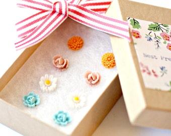 Girls Earrings Set, Children Earrings, Girls Posts, Flower Girl Gift, Pastels