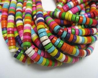 """3x8mm multi color howlite Heshi shape beads in 16 """" long full strand"""