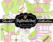 Scrapbook Element Collection. Pretty green and pink, clipart, scrapbooking, invitations, party, printables