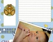 Baby Book Scrapbook digital page, 8.5X11 Page Teddy Bear Polka Dot Instant Download, printable scrapbook oage