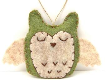 Personalized Owl Ornament, Felt Owl Ornament, Woodland Ornament, Owl Wedding Favor, Christmas Owl Ornament