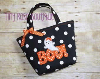 Boo Halloween Trick or Treat Tote Bag - Can Be Personalized