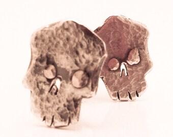 Hammered Skull Cufflinks, Black Silver with 14k Gold, Handmade