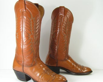 vintage cowboy boots womens 10 honey brown nocona texas leather western
