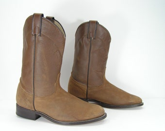 vintage roper cowboy boots womens 9 M B brown distressed leather western cowgirl