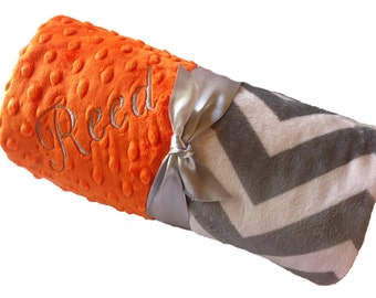 Personalized Baby Blanket Gray and White Minky Chevron Baby Blanket with Orange Dot Minky Back Stroller Size