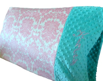 Personalized Minky Pillowcase Damask Minky With Minky Dot