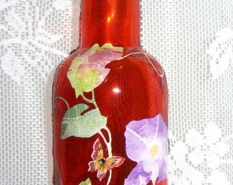 Orange vase - floral vine pattern - swarovski crystals