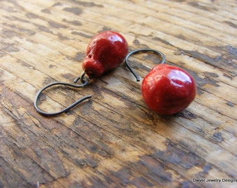 Red Porcelain Bobble Earrings with Handmade Oxidized Silver Ear Wires.
