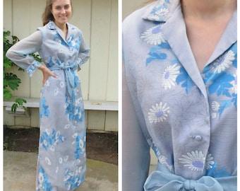 Alfred Shaheen 60s Vintage Daisy Maxi Dress | ice blue Printed Chiffon Cocktail Dress | Medium Large Tall Women