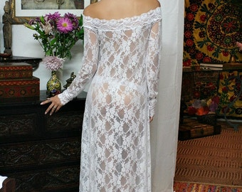 White Lace Off Shoulder Bridal Nightgown Wedding Lingerie Sleepwear