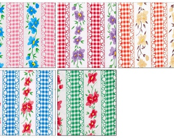 OilclothByTheYard Flowers and Gingham Your choice of Color