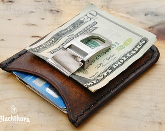 Rover Original, Minimalist Leather Credit Card Wallet, Money Clip Wallet, Front Pocket Wallet
