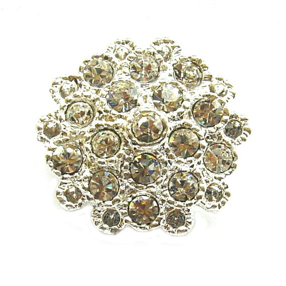 """20 Crystal Rhinestone Buttons for Wedding Decoration Invitation Card Hair Accessories Scrapbooking RB-008 (23mm or 0.9"""")"""