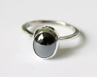 Hematite Stone Ring in Hand Forged Sterling Silver Setting Size 8.75