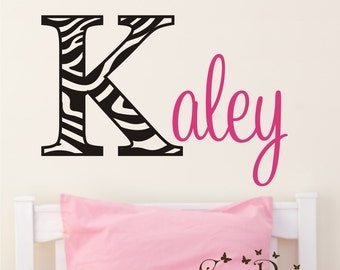 Zebra Print Monogram Name, Initial and name vinyl decal, nursery, kids & teens room, custom removable decals stickers