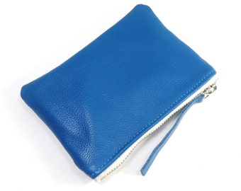 BLUE Leather Pouch, Small Leather Wallet, Leather Zipper Pouch