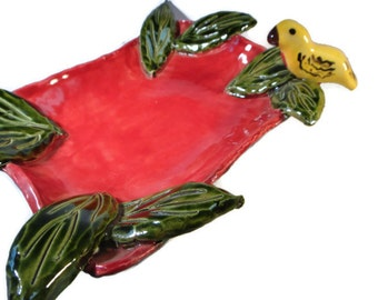 Handbuilt Red Dish with Bird and Leaves