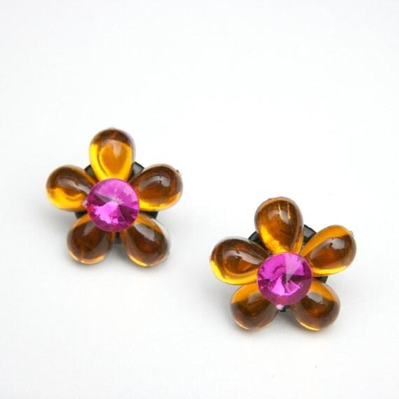 vintage 90s Does 60s Mod Psychedelic Flower Power Orange Purple Earrings Club Kid Rave Twiggy