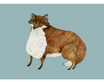 Fox art print Fox drawing Fox watercolour Fox painting Fox print Fox illustration Giclee print 8x11 Fox