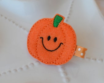 Happy Fall Pumpkin Hair Clip- Perfect Halloween or Thanskgiving Accessory for Girls