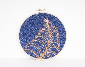 "Embroidery Hoop Botanical Art. Abstract Leaf Fiber Art. Embroidery Hoop Art in Navy Blue and Orange Leaf Design in 6"" Hoop For the Home"