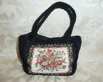 Antique VIntage Black Crochet and Needlepoint Handbag By Garay
