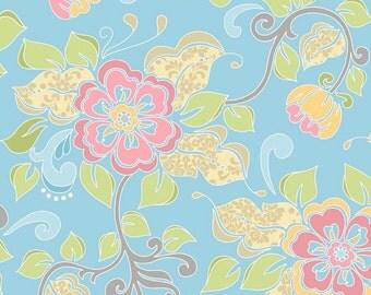 Riley Blake Priscilla Main Blue Fabric - 1 yard