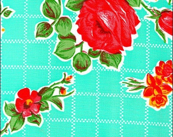 Round Rose n Grid Aqua Oilcloth Tablecloth You pick the size