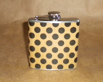 SALE Price Reduced Gift Flask Kraft with Black Polka Dots Stainless Steel 6 ounce Gift Flask KR2D 7115