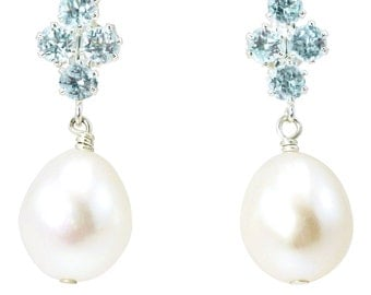 3 pairs Principessa blue topaz and freshwater pearl earrings bridesmaids pack