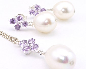 Matching suite Principessa amethyst and freshwater pearl in sterling silver